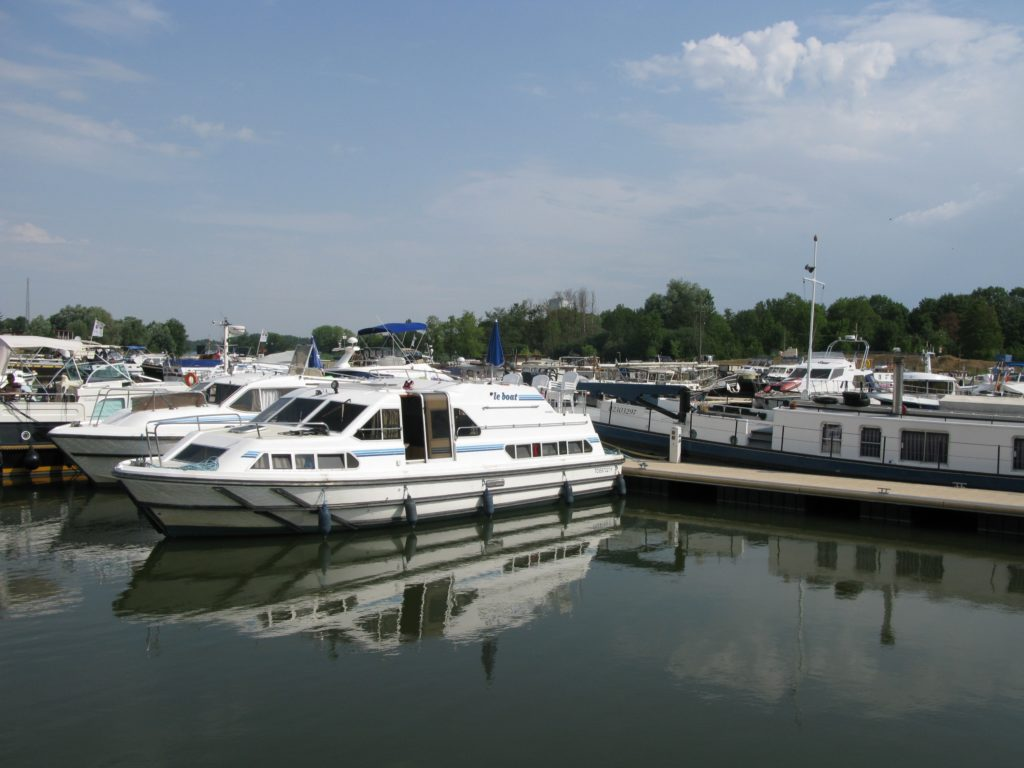 Auxonne harbour on Saone river